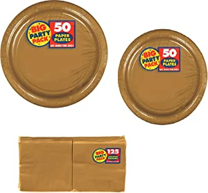 Big Party Pack Party Supplies Value Bundle for 50-9 inch Plates, 7 inch Plates and Beverage Napkins