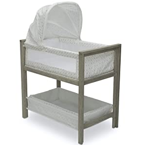 Simmons Kids Farmhouse 2-in-1 Wood Bedside Bassinet Sleeper and Changer - Portable Crib and Changing Table with High-End Wood Frame, Royal Charms
