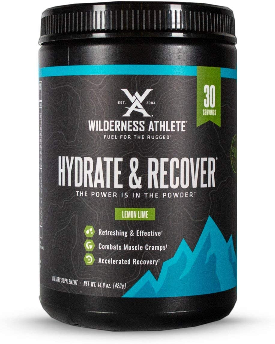 Wilderness Athlete Hydrate Recover, Powder Electrolyte Drink Mix, Lemon Lime, 30 Serving Tub, Recover Faster with Bcaas, Boost Immune System with 1000mg of Vitamin C