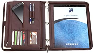 Executive Office Solutions Professional Business Padfolio Portfolio Organizer Interview Folder with Notepad and 3 Ring Binder, Card Slots, Multiple Zippered Pockets Faux Leather - Almond Brown (F062)