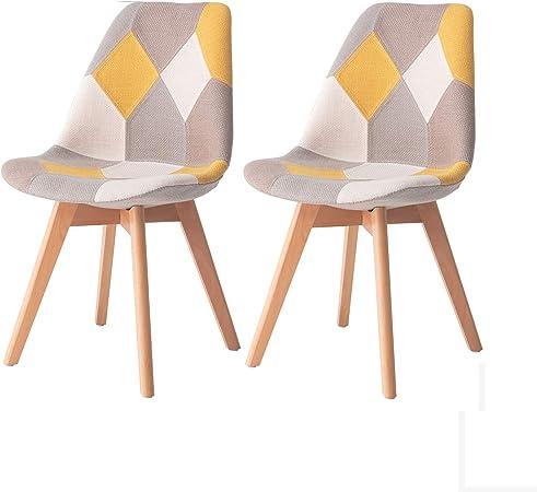 MIFI Chaises de Salle à Manger pour Cuisine Ensemble de 2 chaises de réception en Tissu en Lin avec Coussins Moelleux pour Le Dossier Chaises Eiffel