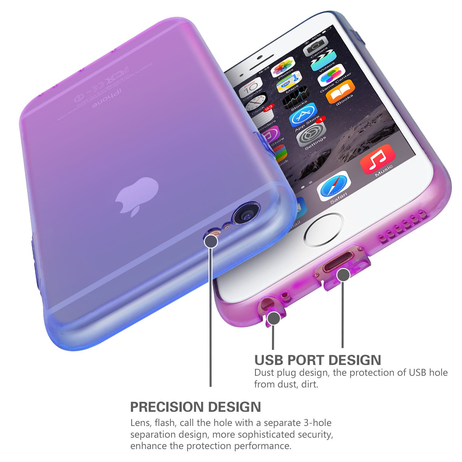 iPhone 6s Case,CLONG iPhone 6S Cover Colorful Clear Shell Slim Case Translucent Impact Resistant Flexible TPU Soft Bumper Case Protective Shell for Apple iPhone 6/6S 4.7 inch(Blue&Purple)