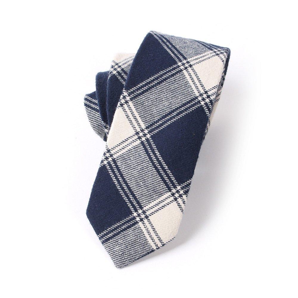N.R.S Necktie for men Checkered/Buffalo Plaid Men's Skinny Tie (White Blue)