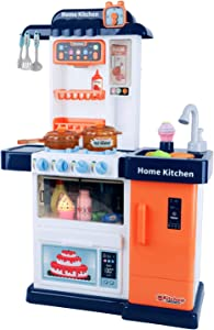 Play Brainy Kitchen Playset for Kids | Little Cooking Kitchenettes with Sink, Cookware, Utensils, Appliances & Realistic Lights, Sounds | Deluxe Pretend Play Toys for Boys & Girls