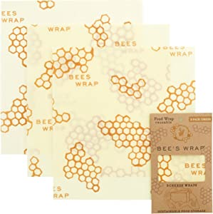 Bee's Wrap Cheese Wrap 3 Pack, Eco Friendly Reusable Beeswax Food Wraps, Sustainable, Zero Waste, Plastic Free Cheese Saver & Food Storage (Honeycomb Print)