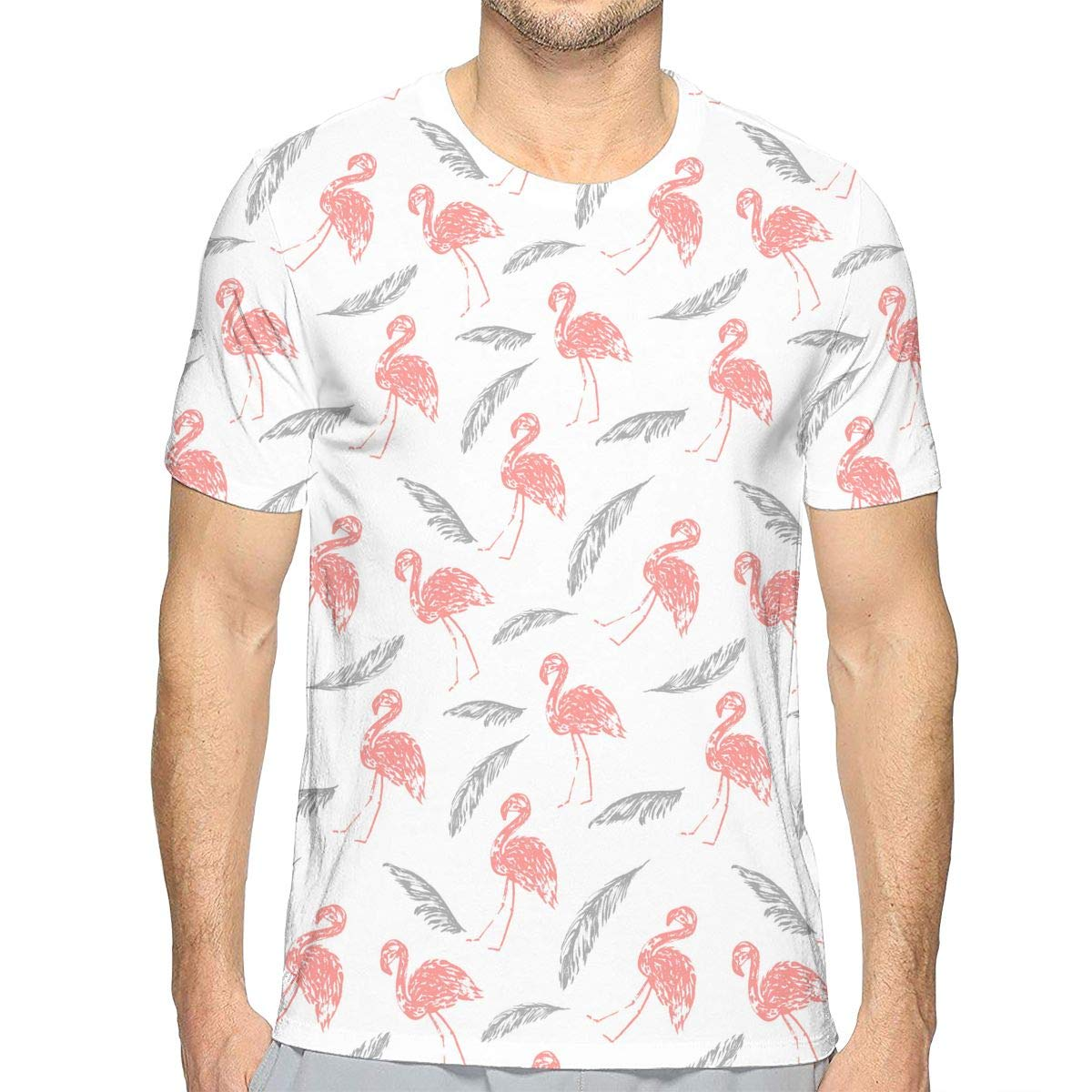 TAOHJS106 Summer Flamingo and Palm Leave Pattern Mens Crewneck Short Sleeve T Shirts Best for Soccer Athletic