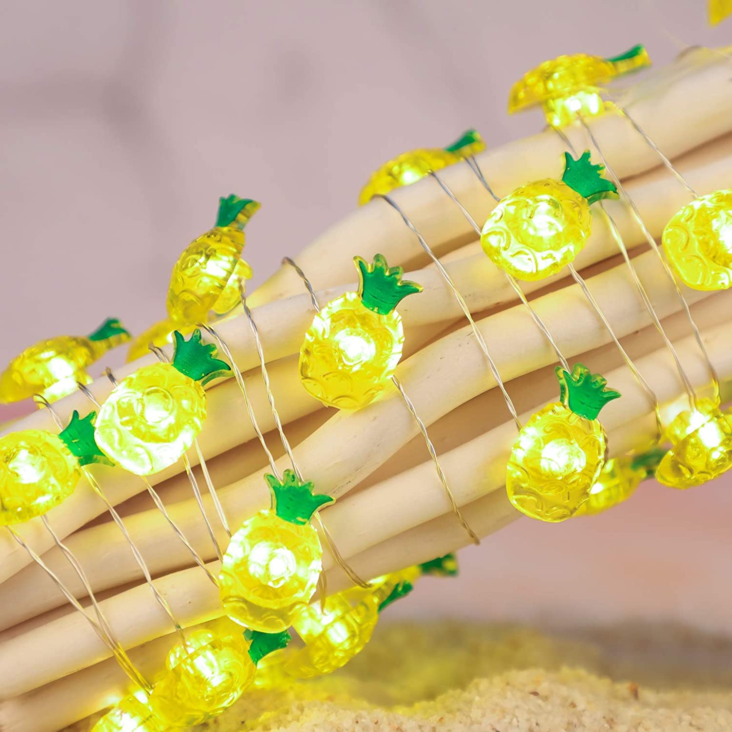 Holitown Pineapple String Lights,10ft 30LEDs Ananas Summer Theme Fairy Lights with Remote,Battery&USB Powered for Home Decor,Party,Festival,Bedroom