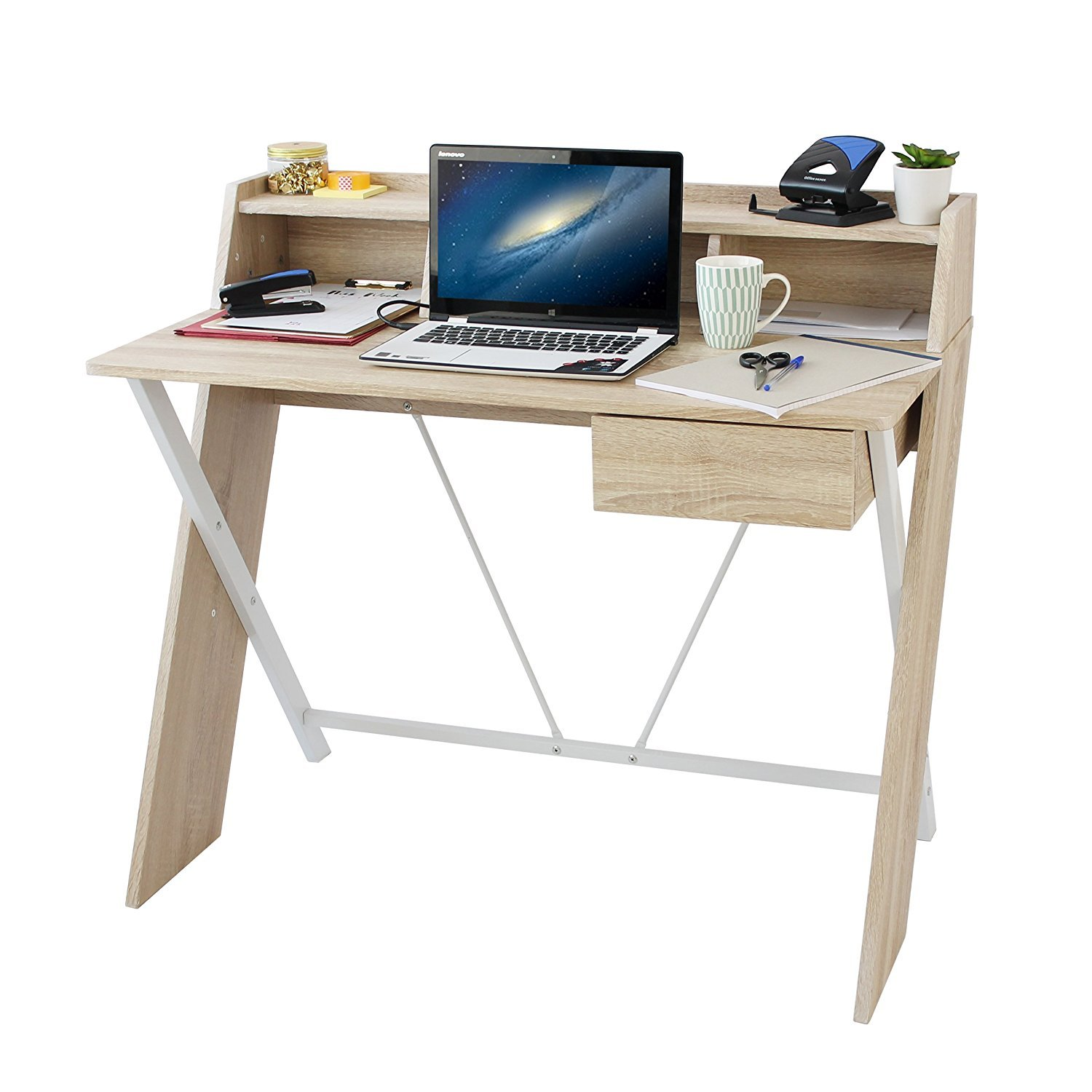 Save On Goods UK Home office computer desk, student work station writing study table. Oak effect white metal tubular frame