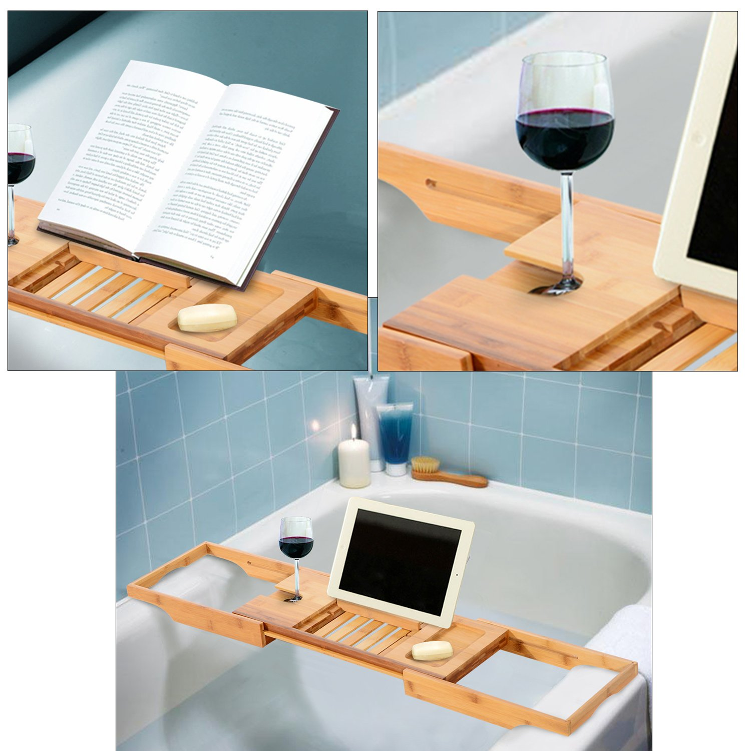 SortWise Expandable Bathtub Bath Tub Tray and Caddy with Removable ...