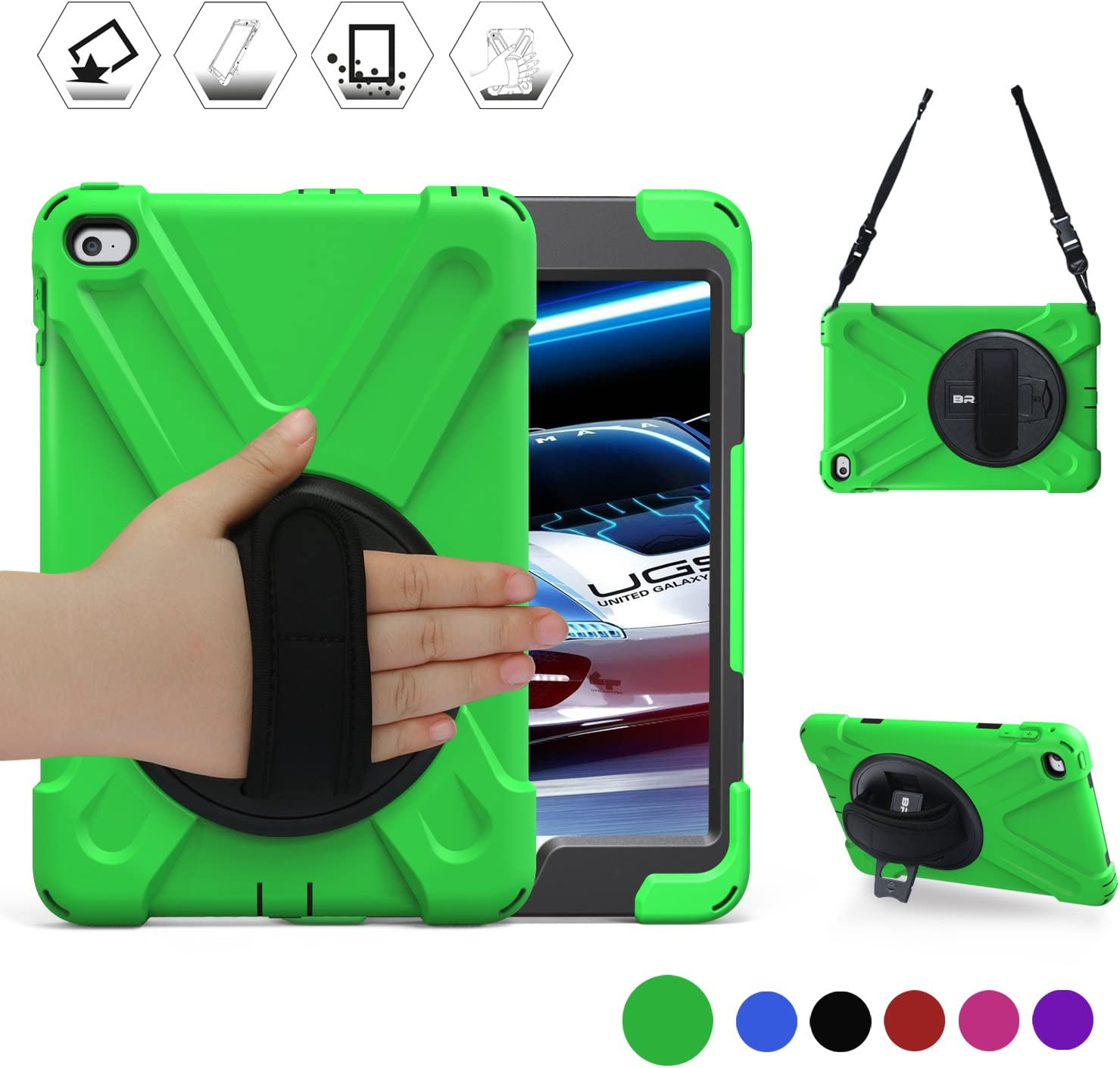 BRAECN iPad Mini4 Shockproof Case Three Layer Drop Protection Rugged Protective Heavy Duty for iPad Mini 5 Case with a 360 Degree Swivel Stand/Hand Strap/Shoulder Strap for iPad Mini 4/5 Case(Green