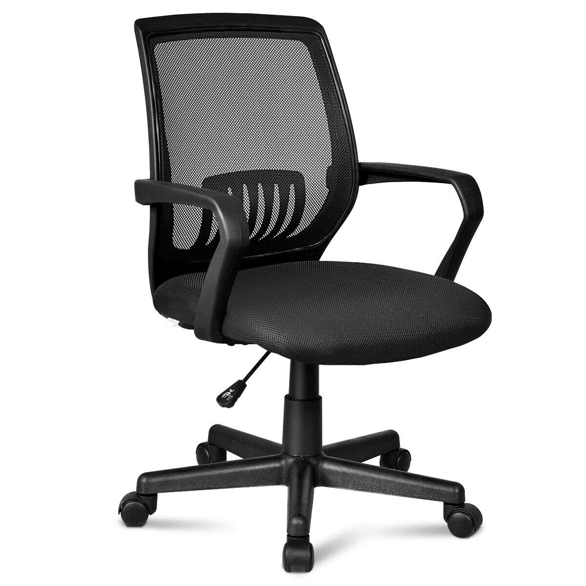 Giantex Office Chair Mid-Back Mesh Chair with Armrest, Ergonomic Desk Chair Lumbar Support Sponge Cushion Executive Adjustable Stool Rolling Swivel Chair for Back Pain 22.5 x 22.5 x 40