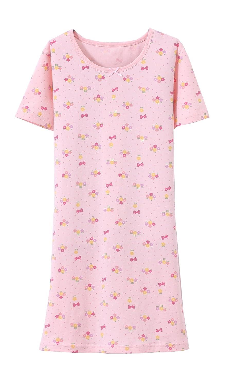 ABVêtements Filles Coton Chemise de Nuit 3 Motifs Rose 2-8 Ans
