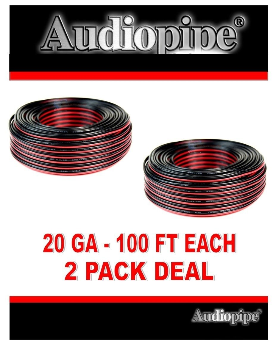 200' Speaker Wire 20 Gauge, 2 100' Rolls Red Black Zip Cable Copper Clad
