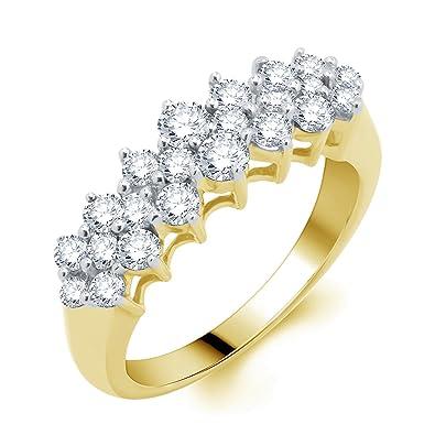 eedbac332db22 Amazon.com: 14k White Gold 1ct TDW Diamond Pyramid Ring (H-I, I1-I2 ...