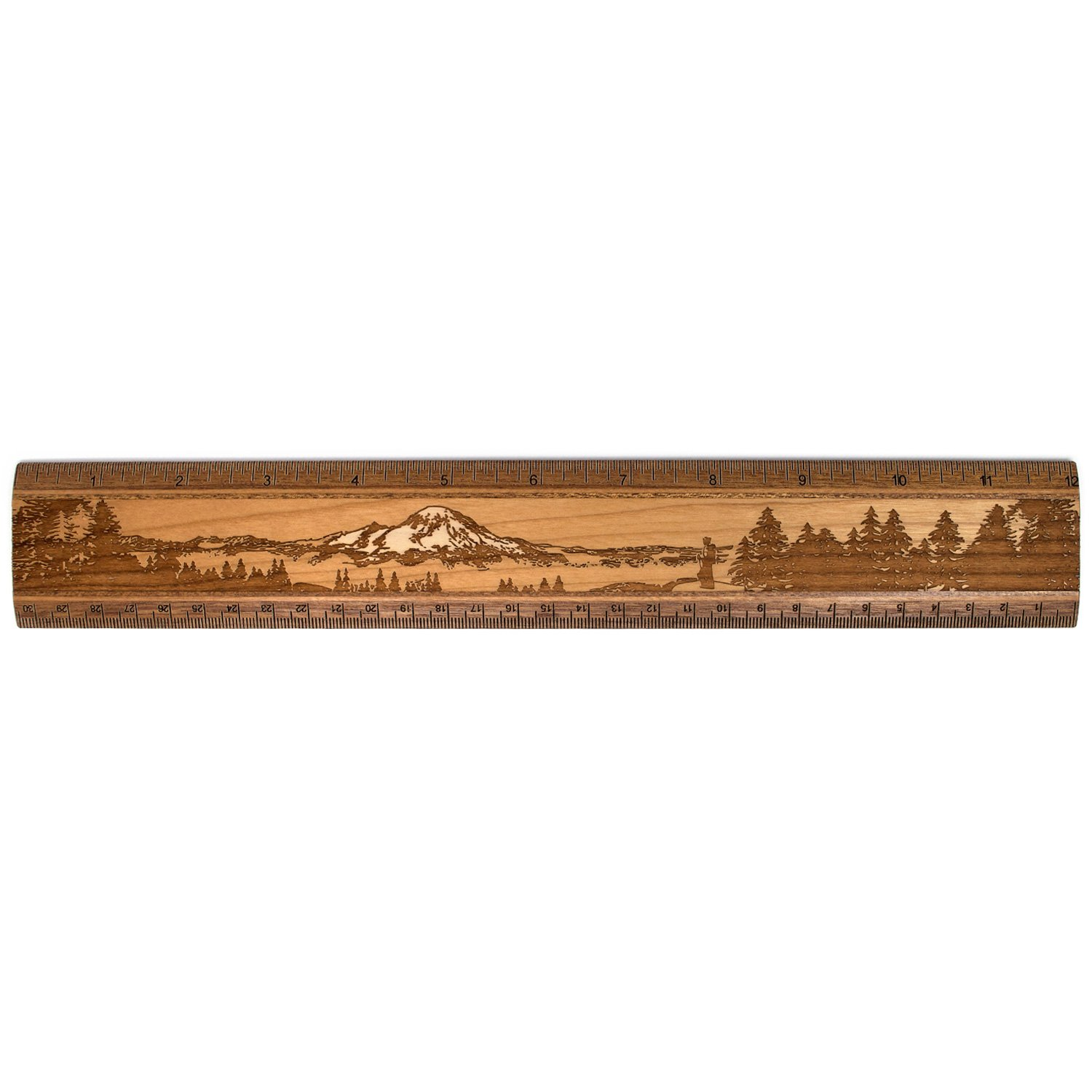 12'' Solid Cherry Wood Artisan Ruler - Mountain Wilderness Hiker - Measures inches & Centimeters - Made in USA