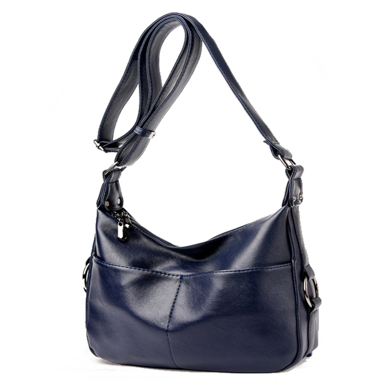 bf4cc7d492 Amazon.com  Lustear Ladies Soft Leather Shoulder Bags Hobo Style Bag (Navy  Blue)  Shoes
