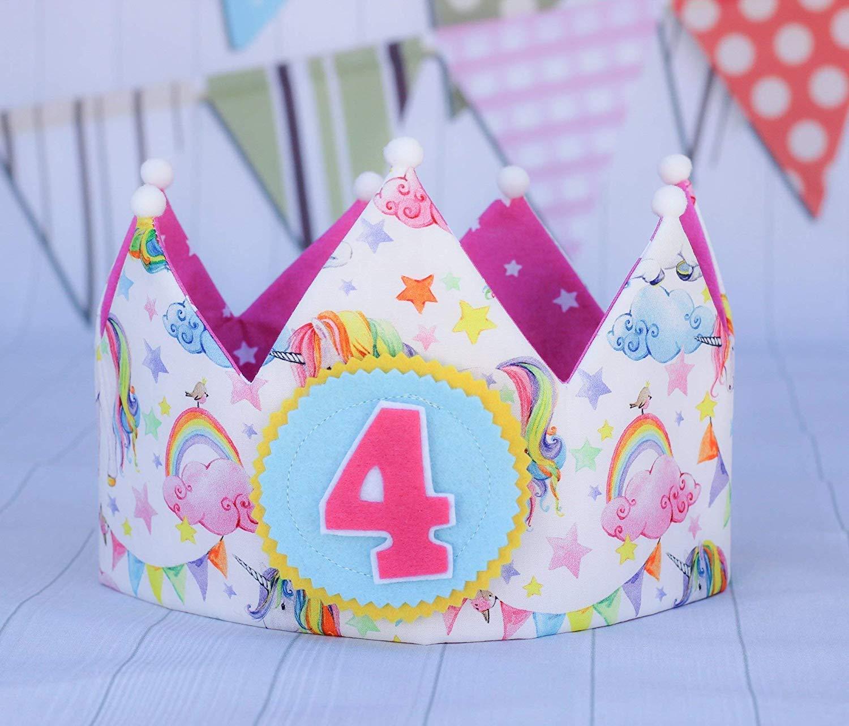 Corona cumpleaños de tela con dibujos de unicornios, corona ...