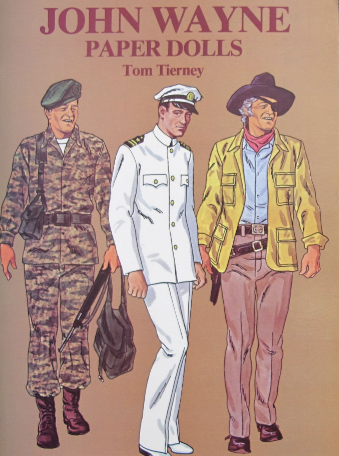 Tom Tierney JOHN WAYNE PAPER DOLLS Book (UNCUT) w 2 Card Stock DOLLS and 31 Card Stock COSTUMES (1980) by Tom Tierney, Dover Publications (Image #1)