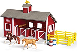 "Breyer Stablemates Red Stable and Horse Set | 12 Piece Play set with 2 Horses | 11.5""L x 7.5""W x 9.25""H 