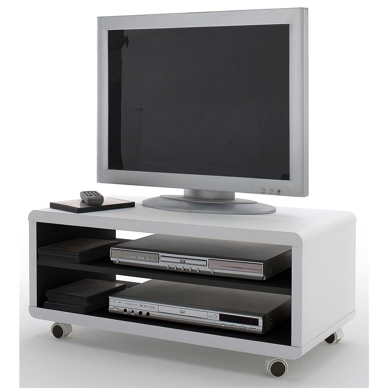 Tv lowboard schwarz  TV-Lowboard TV-Rack TV-Schrank JAMES, in weiß/schwarz, auf Rollen ...