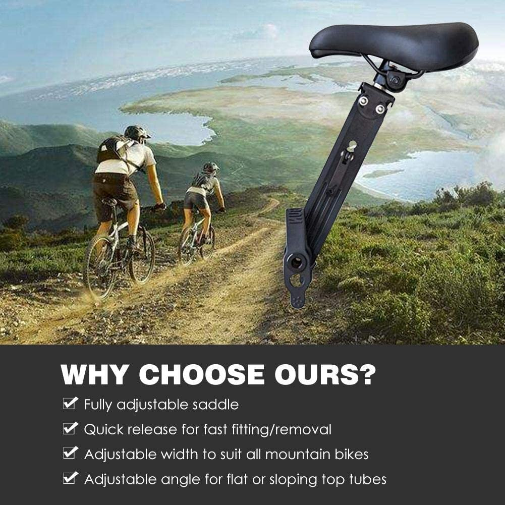 Detachable Mountain Bike Kids Seat Front Mounted Bike Seat for Kids Easy to Install Compatible with All Adult MTB Front Mounted Bicycle Seats for Children 2-5 Years