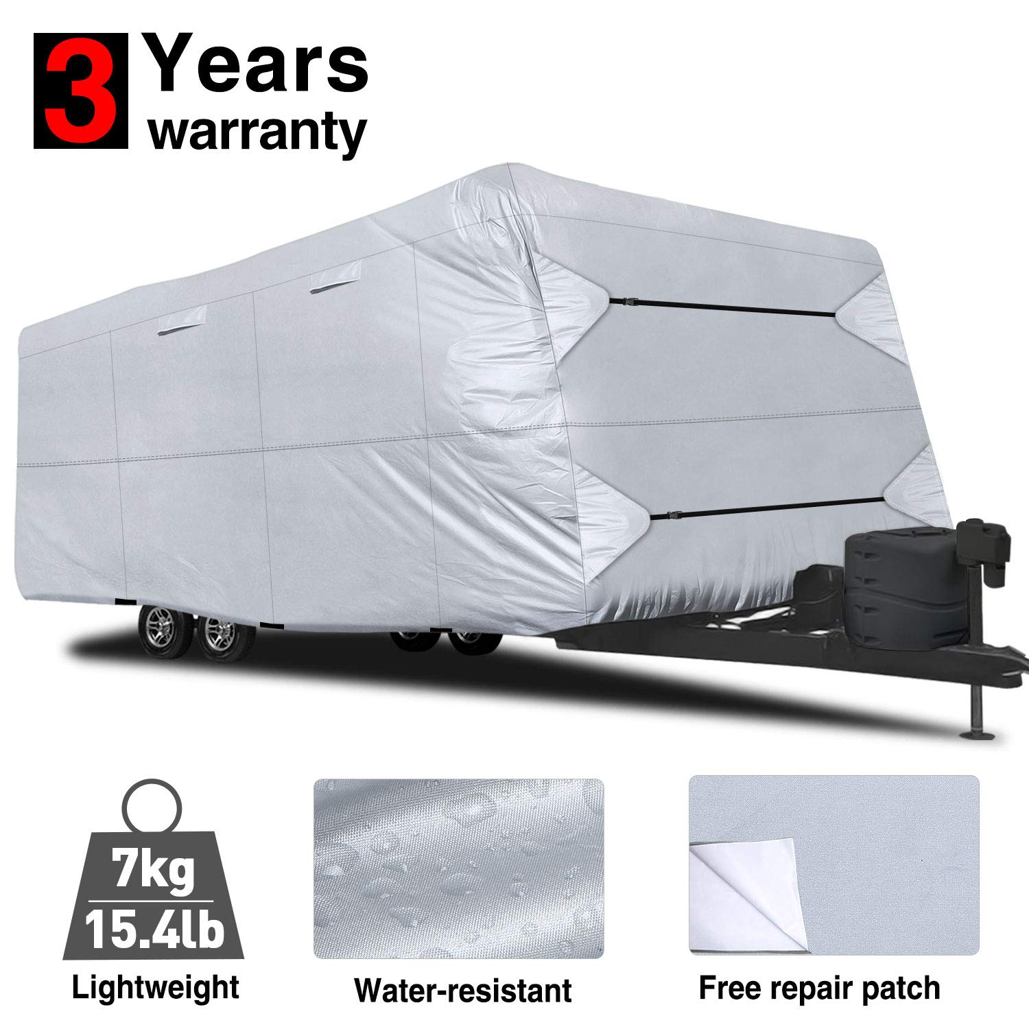 RVMasking Travel Trailer RV Cover 31'7''-34' L with Free Adhesive Repair Patch, Lightweight & Waterproof Camper Cover by RVMasking