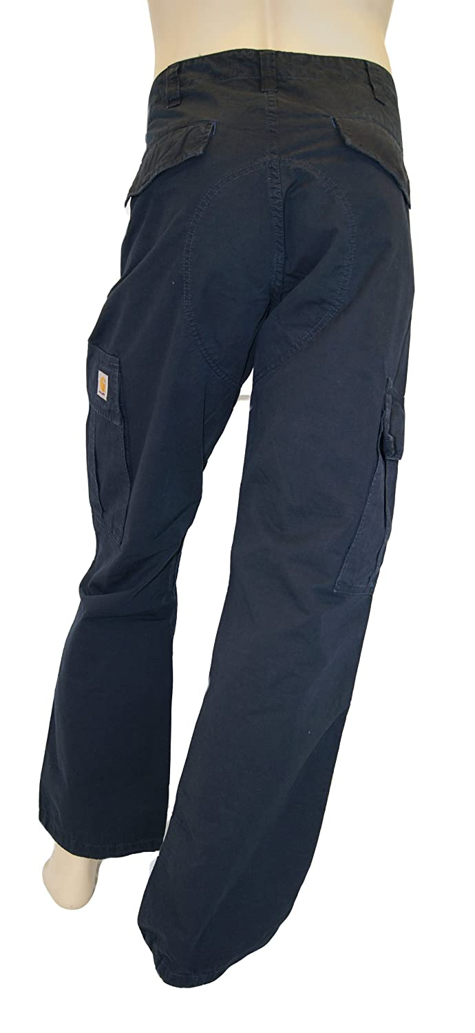 Carhartt Mens Navy Blue Cargo Pants, Style Cotton Twill Size W29 x L34
