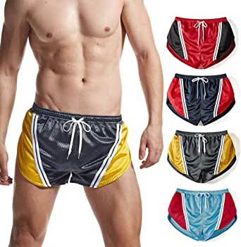 Mens Split Side Running Shorts Retro Workout Gym Marathon Lounge Shorts with Liner