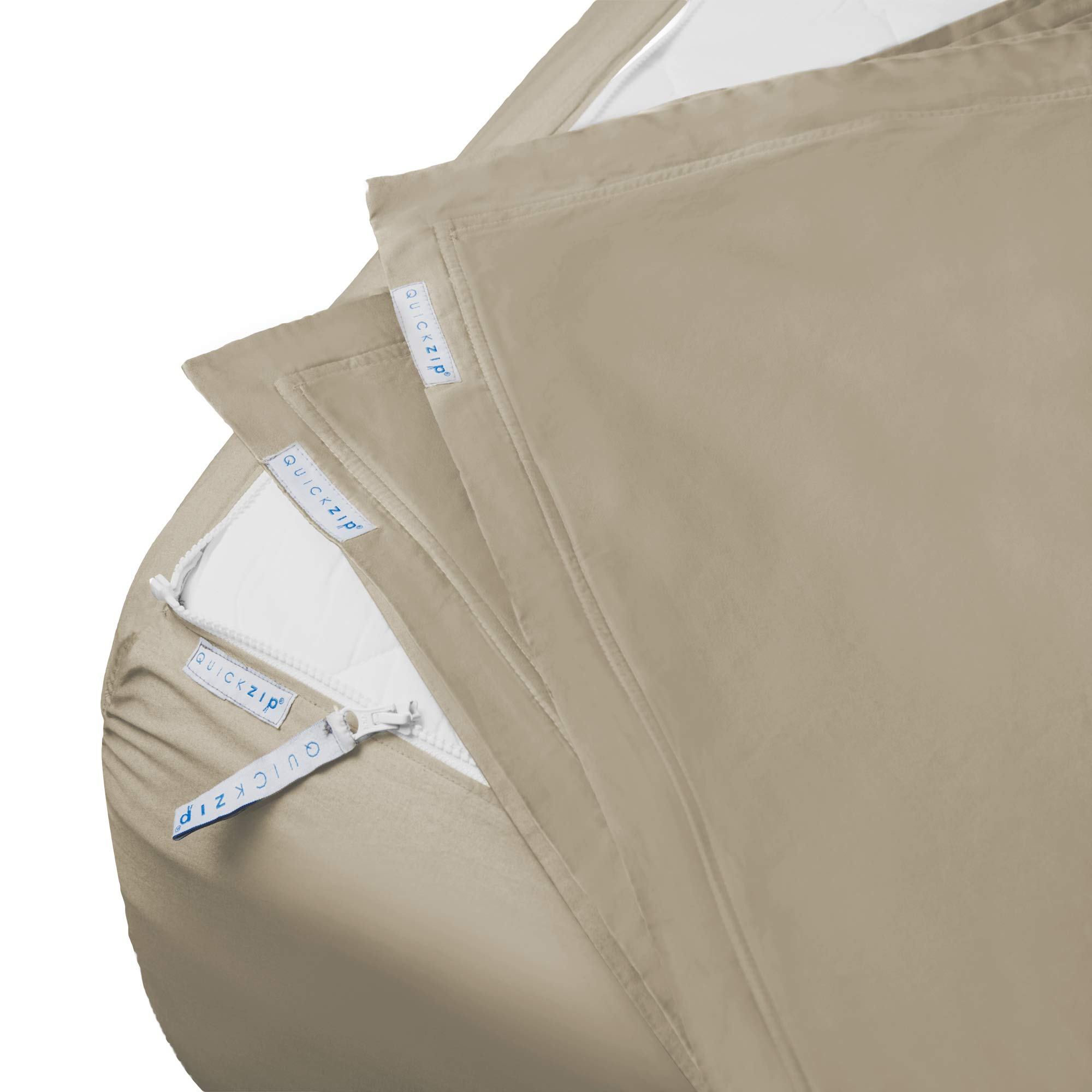 QuickZip Fitted Sheet - Includes 1 Fitted Sheet Base & 2 Zip-On Sheets - Easy to Change, Fold & Wash Queen Sheet - Soft Sateen 400 TC Cotton Fitted Sheets - 16'' Deep Pockets Queen Size Sheets - Sand by QuickZip