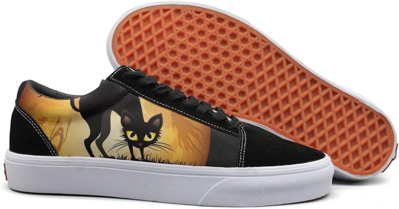 VCERTHDF Print Trendy Black Cat Halloween Low Top Canvas Sneakers