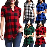 melupa Women's Henley V Neck Plaid Shirts Short Sleeve Tunic Tops Plus Size Casual Work Office Blouse