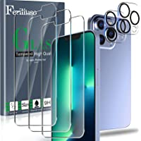 Ferilinso Designed for iPhone 13 Pro Screen Protector, 3 Pack HD Tempered Glass with 2 Pack Camera Lens Protector, Case…