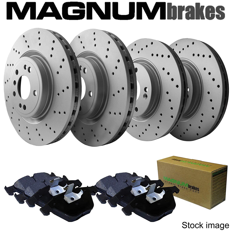 Front and Rear MagnumBrakes Cross Drilled Brake Rotors /& Ceramic Brake Pads for 2007-2013 Mazda 3 Mazdaspeed