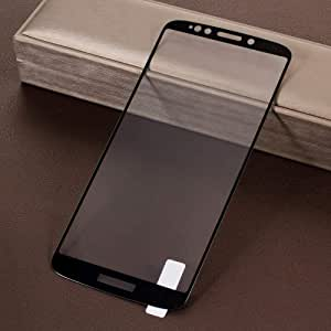 Motorola Moto E5 Tempered Glass Protector Plus Silk Printing Full Screen Coverage - Black