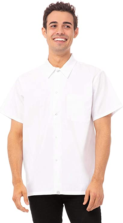 DOITOOL Chef Coat T-Shirt Chef Code Short Sleeve Chef Uniform Chef Jacket Shirt for Bakery Kitchen Restaurant Size M White