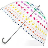 totes by Totes Kid's Clear Bubble Umbrella with Easy Grip Handle, Dots (Clear) - 2236N53