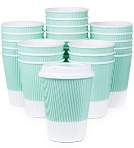 Premium Disposable Coffee Cups With Lids - (90) Durable 12 oz To Go Coffee Cups With Tight Resealable Lids Prevent Leaks! Sturdy, Insulated For Hot Beverages. Will Not Bend With Heat Or Burn Fingers!