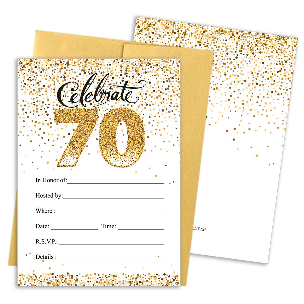White and Gold 25 Count DISTINCTIVS 70th Birthday Party Invitation Cards with Envelopes