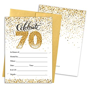 Amazon 70th Birthday Party Invitation Cards With Envelopes 25