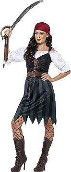 Smiffys Smiffys-45491X1 Disfraz de Marinera Pirata, con Camisa, Falso Chaleco, Falda, cinturón y b, Color Azul, XL - EU Tamaño 48-50 45491X1: Amazon.es: Juguetes y juegos