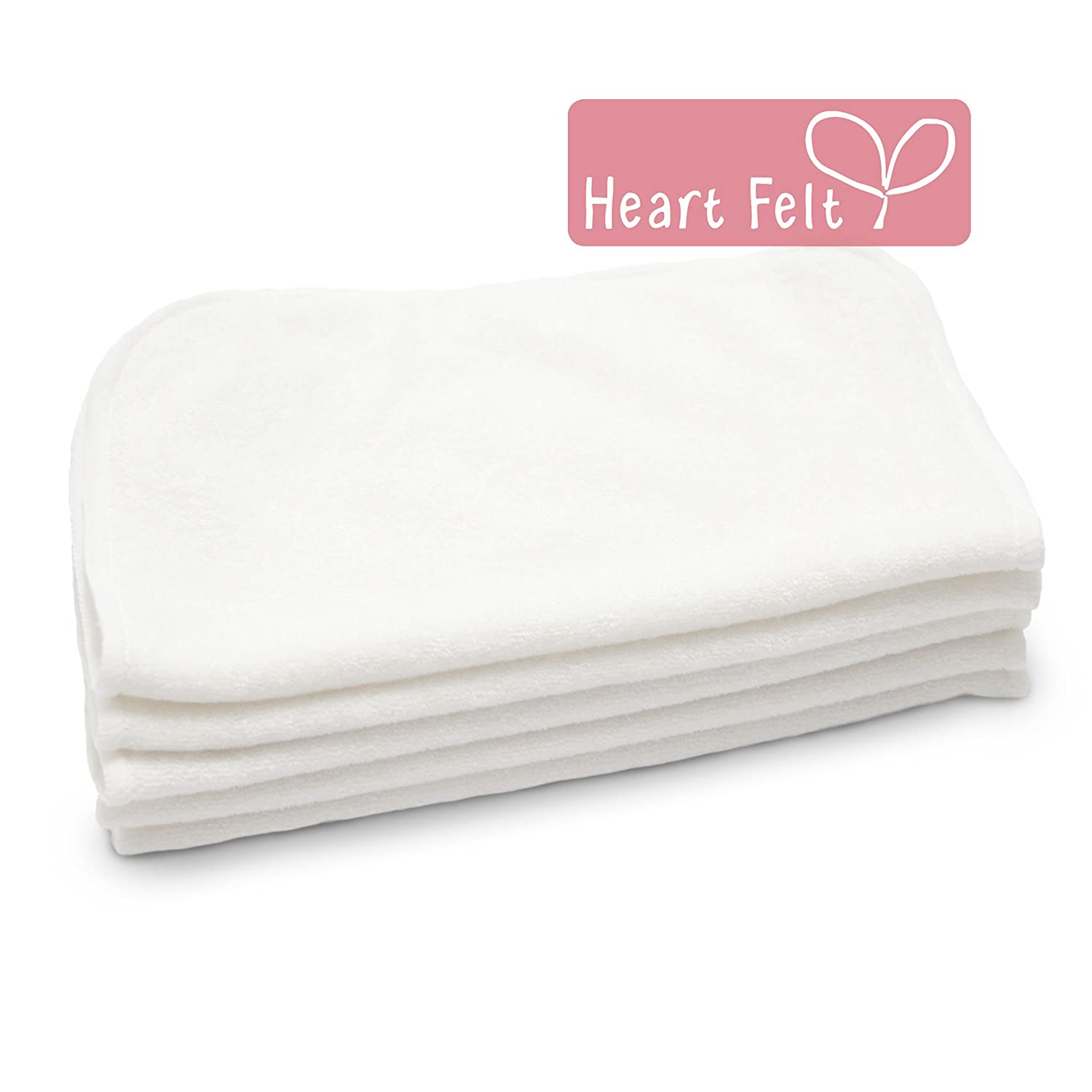 Heart Felt 100% Natural Baby Wipes - 5 Extra-large Reusable Wipes for Wipes, Wash Cloths and Dribble Bibs. Versatile, Soft and Gentle on Baby's Skin.