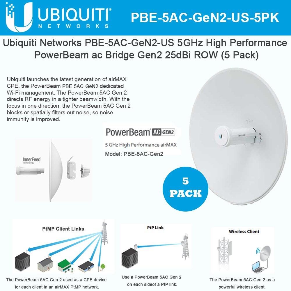 Ubiquiti PowerBeam AC Gen2 5GHz PBE-5AC-Gen2-5 US High Performance Bridge(5Pack
