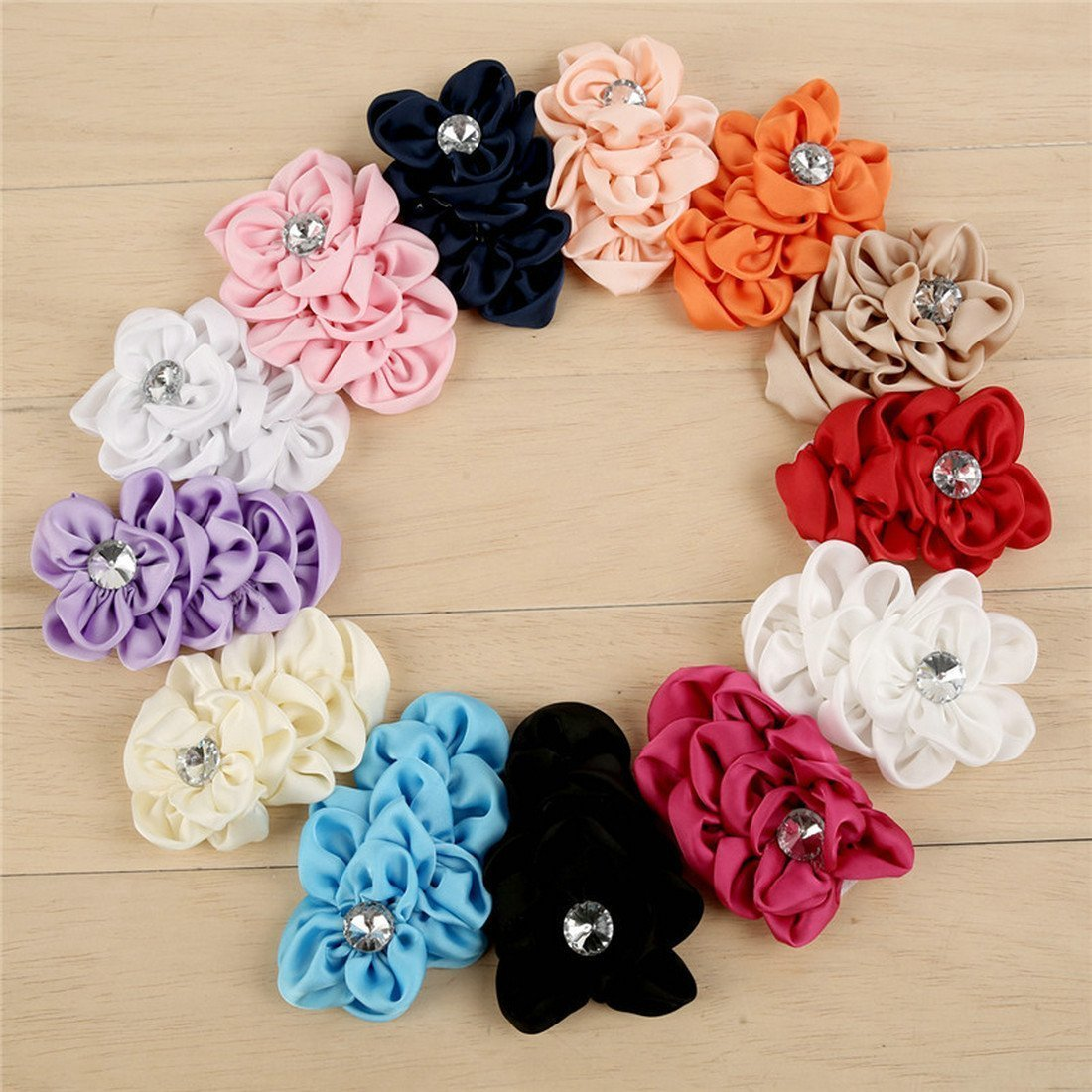 Mixed Colors Flat-bottomed Beautiful Bohemian Style DIY Handmade Decorative Chiffon Flowers with Pearl and Rhinestone for Hair Clips,Wedding Flowers(10Pcs) Chiffon scale Flowers