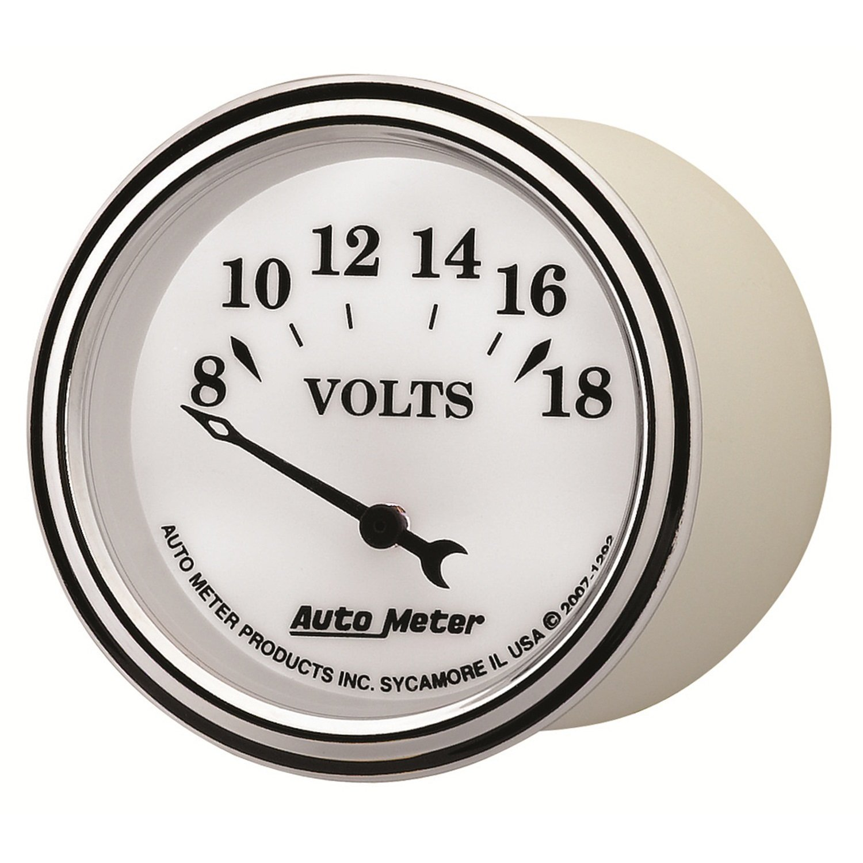 Auto Meter 1292 Old Tyme White II 2-1//16 8-18 Volt Short Sweep Electric Voltmeter Gauge