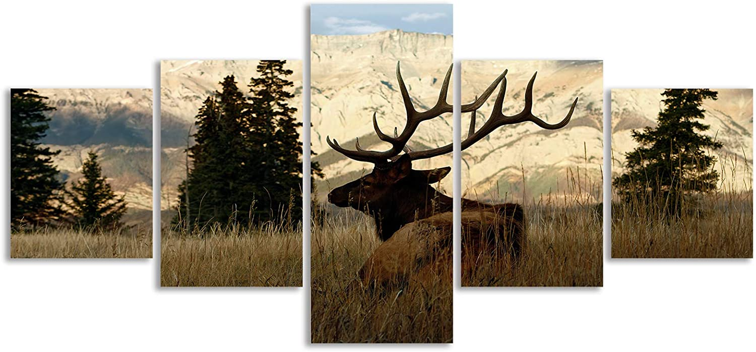 Mooflapha Wall Art Deer Canvas 5 Piece Print Painting Hunting Deer Animal Mountain Wild Home Wall Décor for Bedroom Living room Dinning