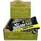 BodyMe Organic Vegan Protein Bar | Raw Turmeric Lemon | 12 x 60g Vegan Protein Snack Bars | Gluten Free | 16g Complete Protein | 3 Plant Proteins All Essential Amino Acids | High Protein Vegan Snacks