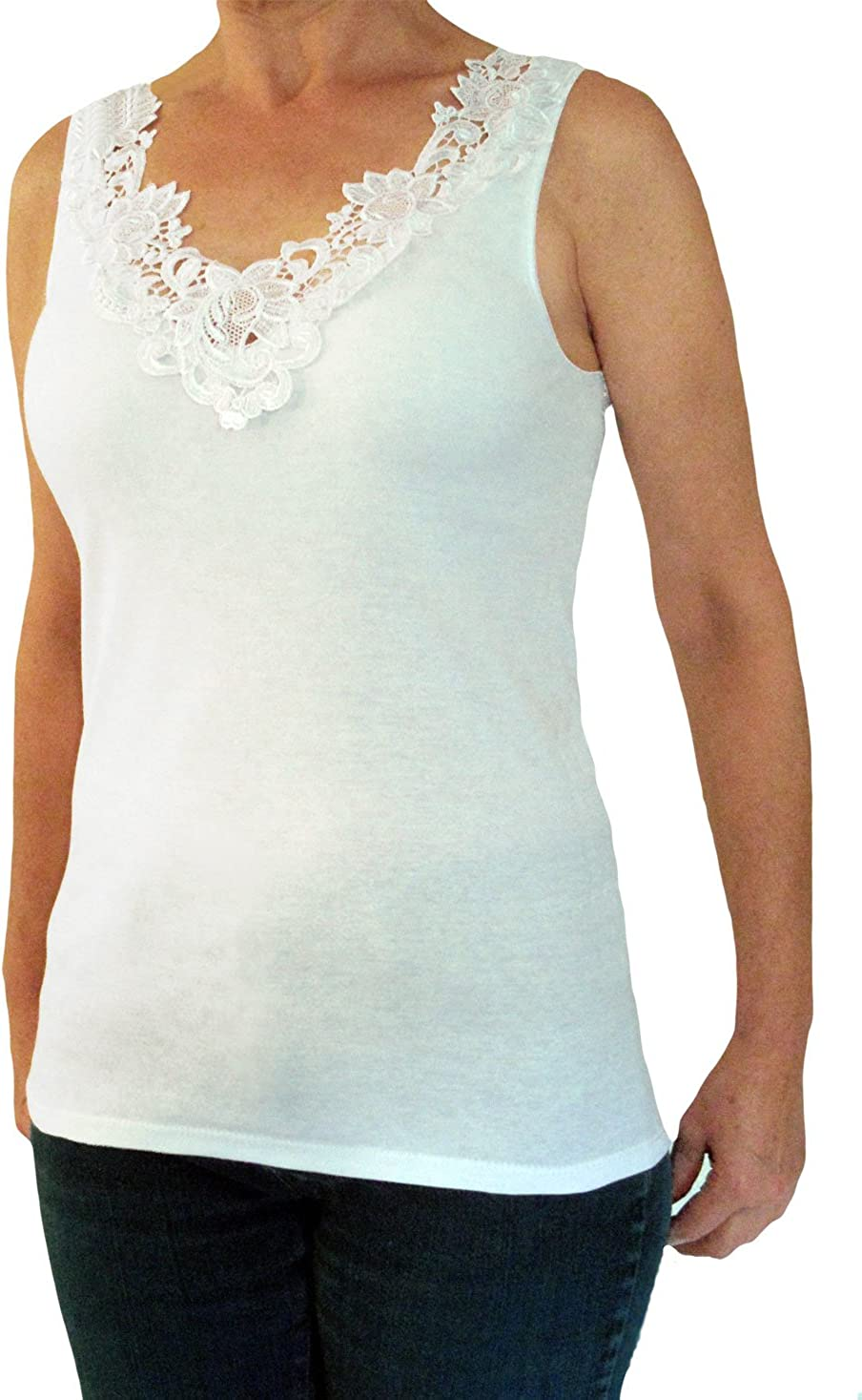 Farben Toker Collection H/übsches Damen Unterhemd mit extra breiter Spitze in versch
