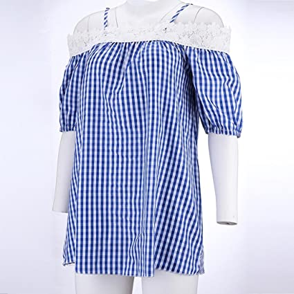 ... Covermason Blusa sin Tirantes del cordón de la Camisola de la Camisola de Manga Corta de Las señoras: Amazon.es: Ropa y accesorios