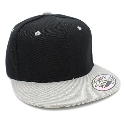 08348f5d6e227c Kid's Youth Plain Blank Solid Color Flat Bill Adjustable Snapback Cap Hat ( BLACK/LT