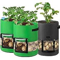 3 Piezas 7 Galones Bolsa de Cultivo de Papa Saco Plantar Patatas con Manija de Ventana de Velcro para Patata Cebolla…